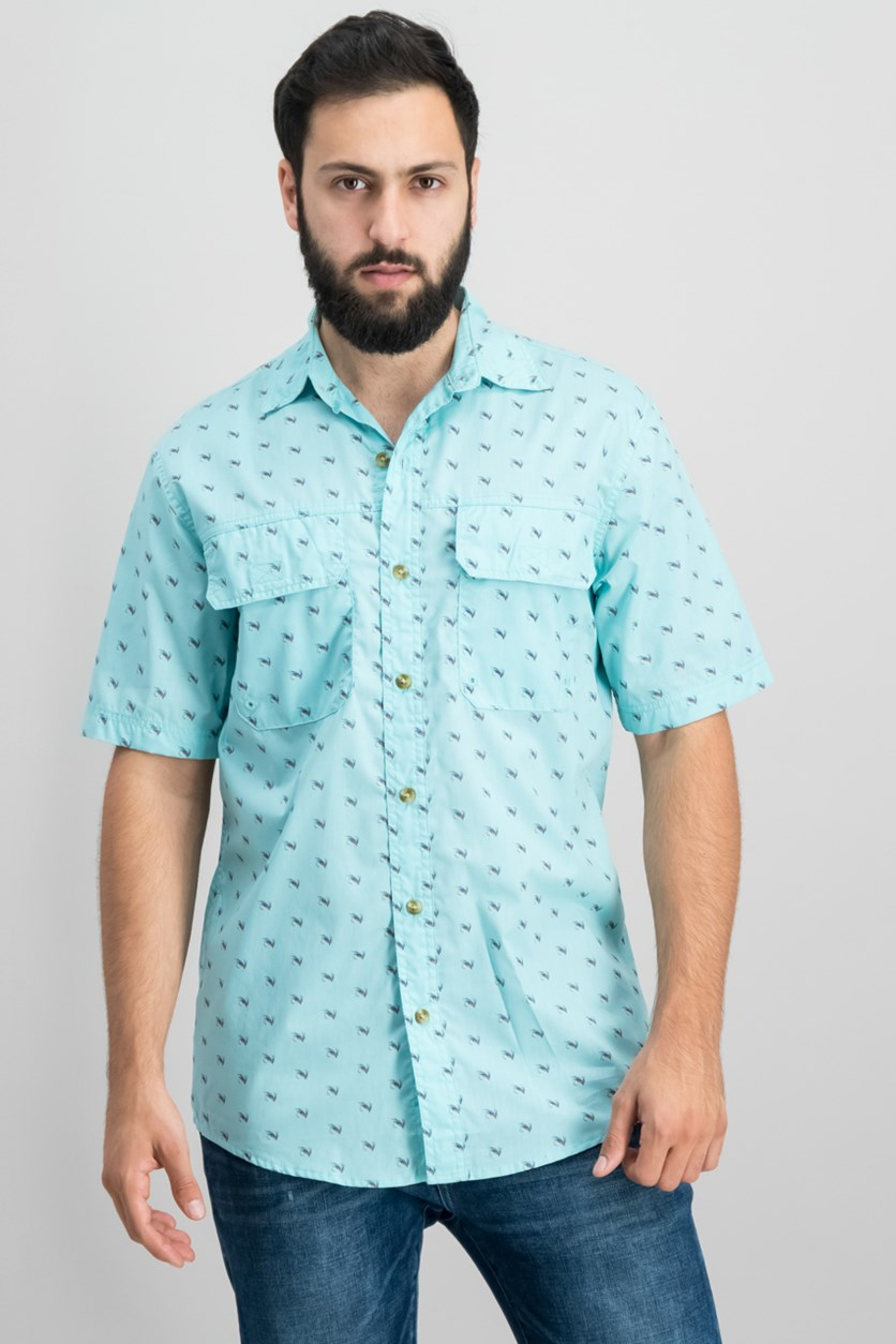 Mens Explorer Printed Shirt,  Fishing Aqua Haze
