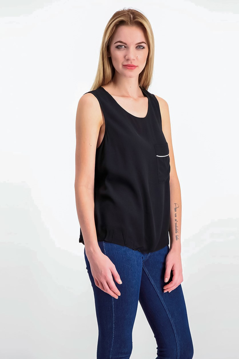 Sleeveless Split-Back Top, Black