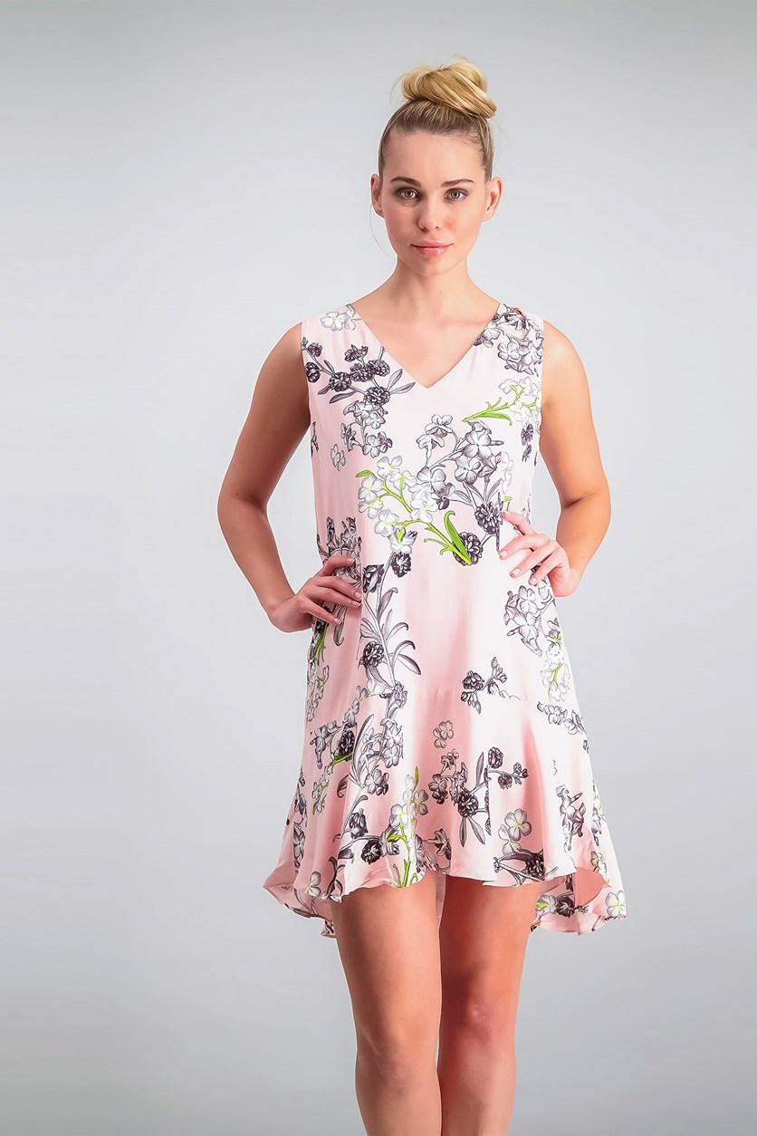 Floral-Print Shift Dress, Pink Taffe