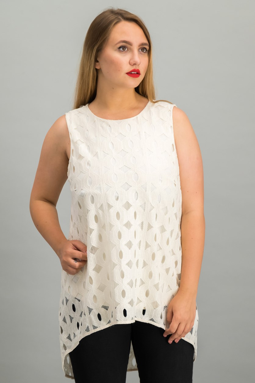 High-Low Lace Top, Ivory