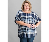 Women's Plus Plaid Ruffle Sleeves Pullover Top, Light Bluestone
