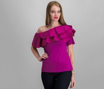 Vince Camuto Ruffled Off-The-Shoulder Top, Fuchsia Furry