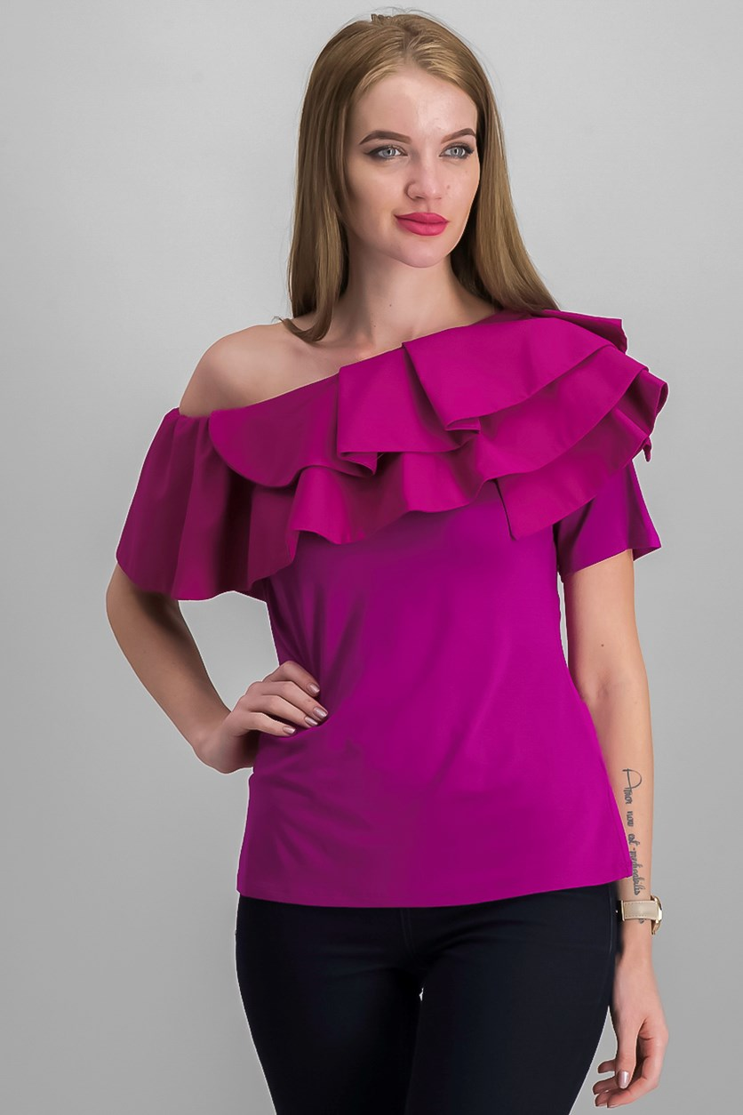 Ruffled Off-The-Shoulder Top, Fuchsia Furry