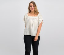 Vince Camuto Metallic-Stripe Peasant Top, Ivory/Canopy Green