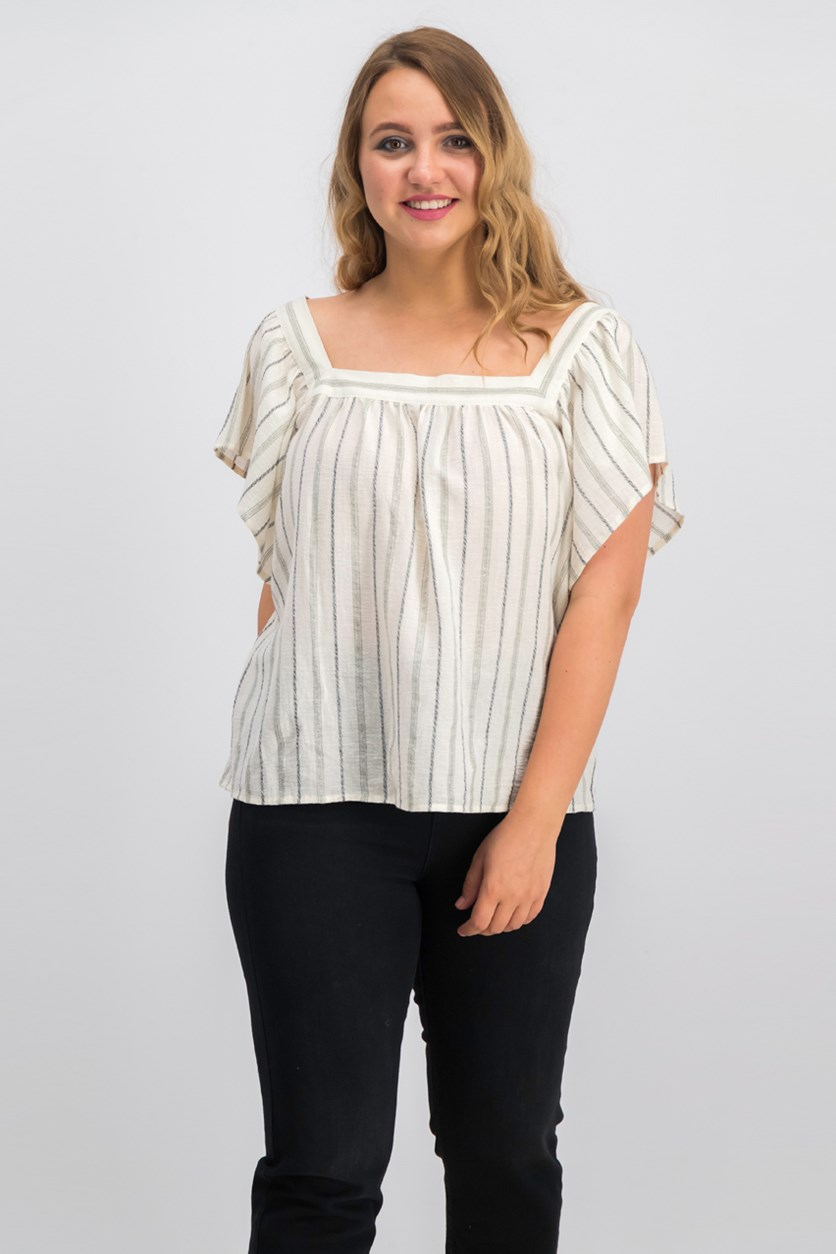 Metallic-Stripe Peasant Top, Ivory/Canopy Green