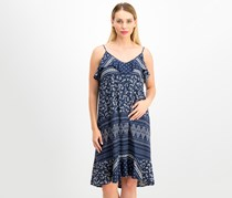 Vince Camuto Women's Ruffled Shift Dress, Navy Combo