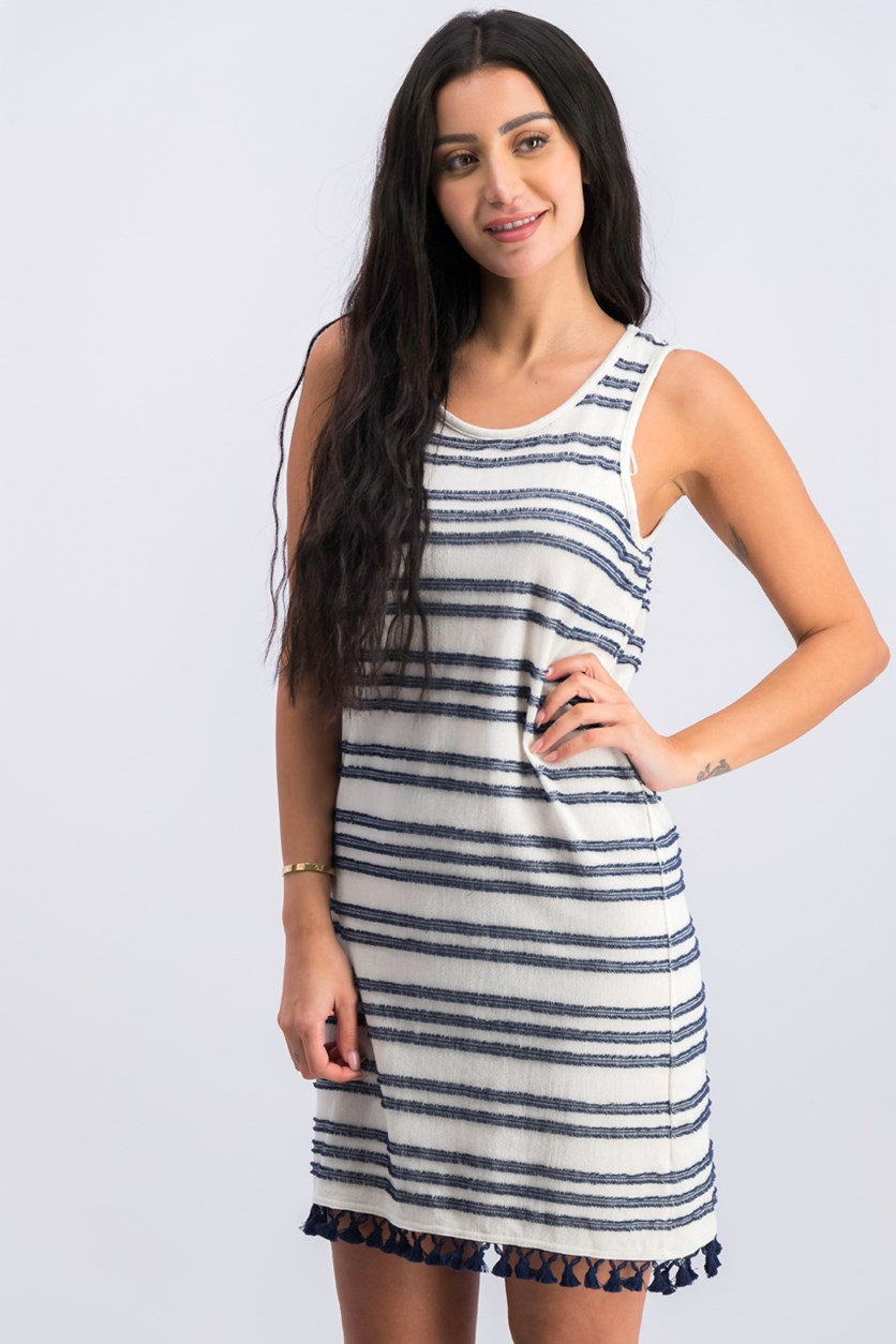 Sleeveless Striped Tassel-Trim Dress, Black Iris