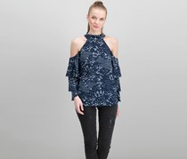 1.state Printed Cold-Shoulder Tiered-Sleeve Top, Lady Blue