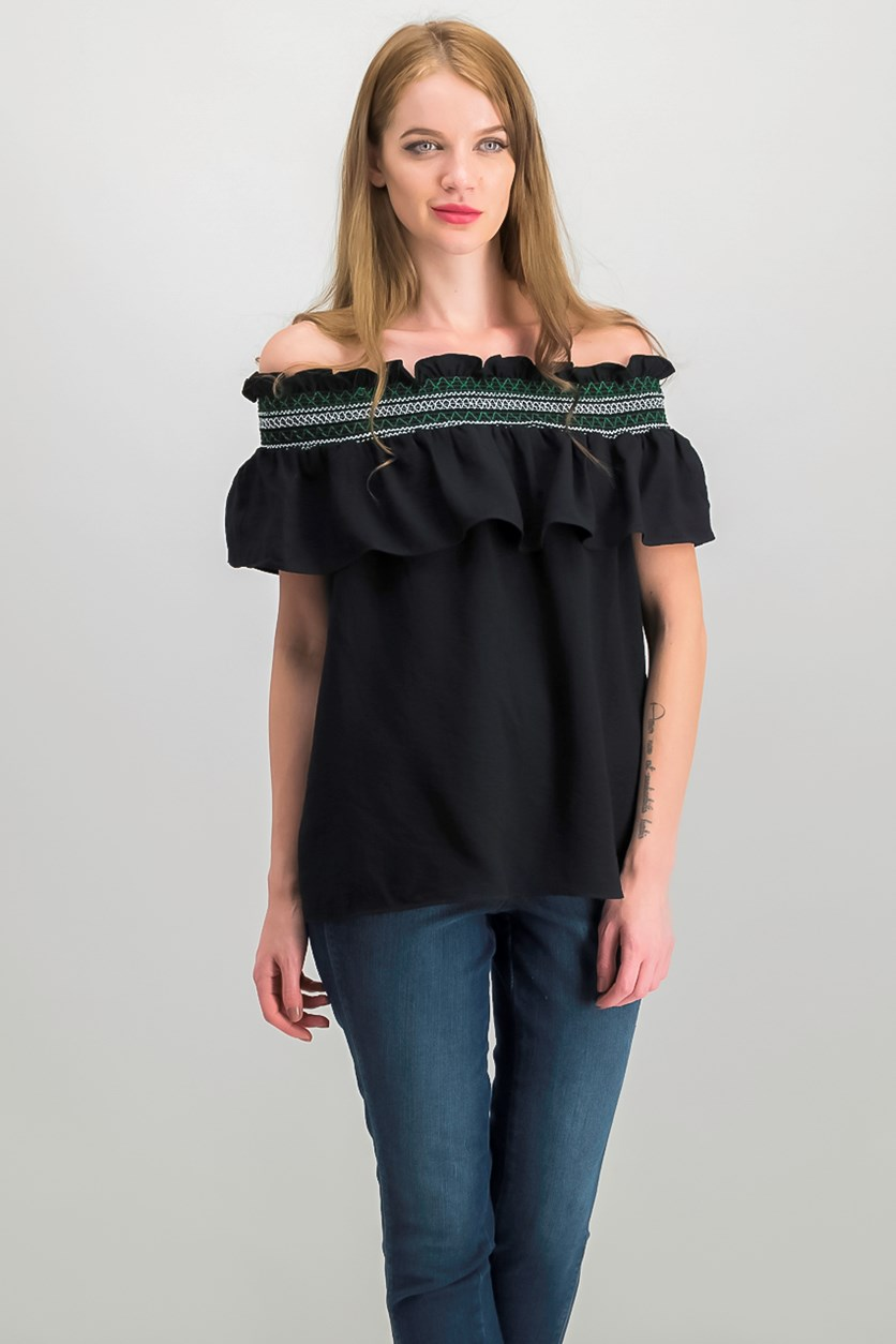 Smocked Off-The-Shoulder Top, Black