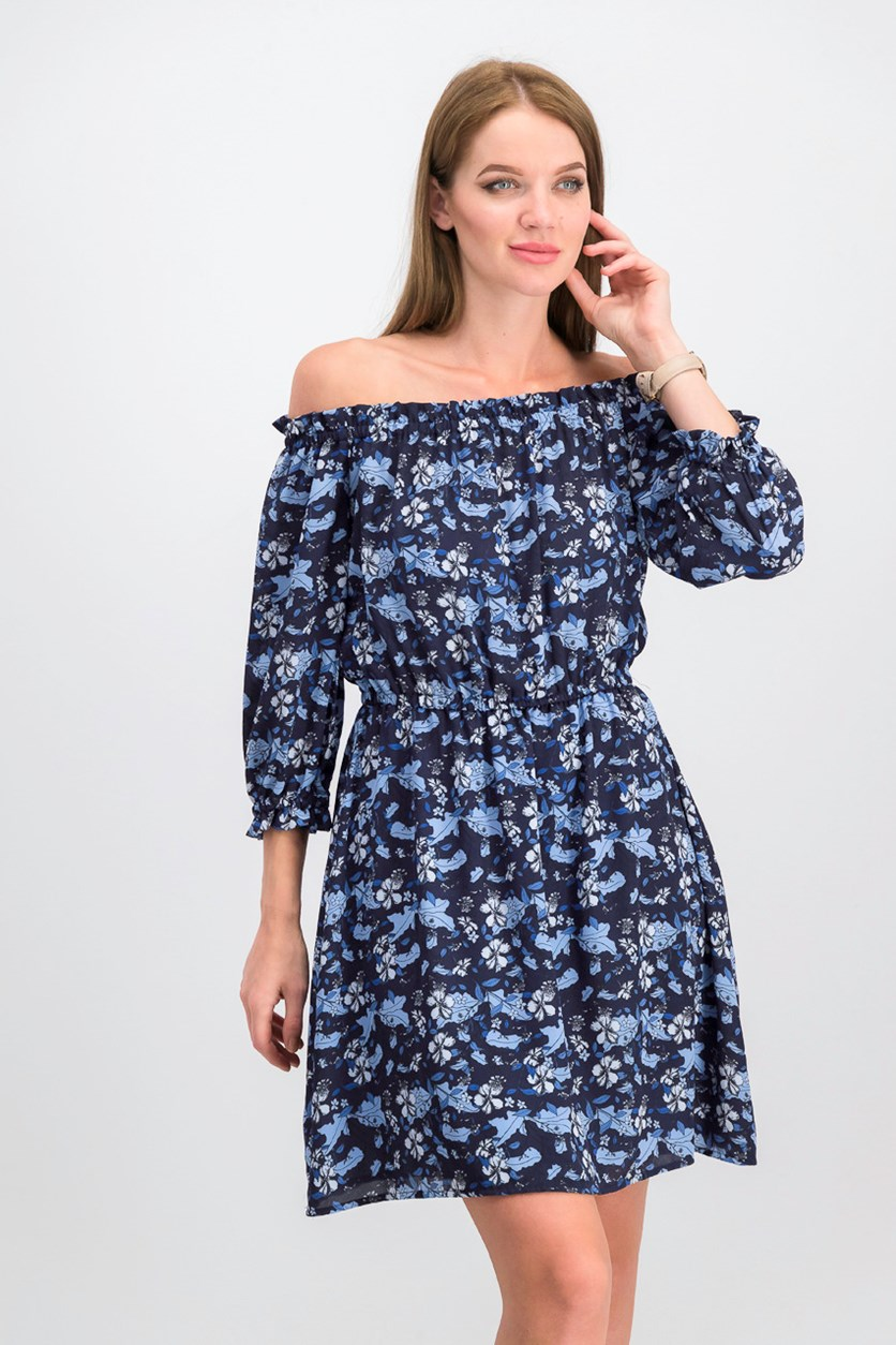 Printed Off-The-Shoulder Dress, Blue Bird