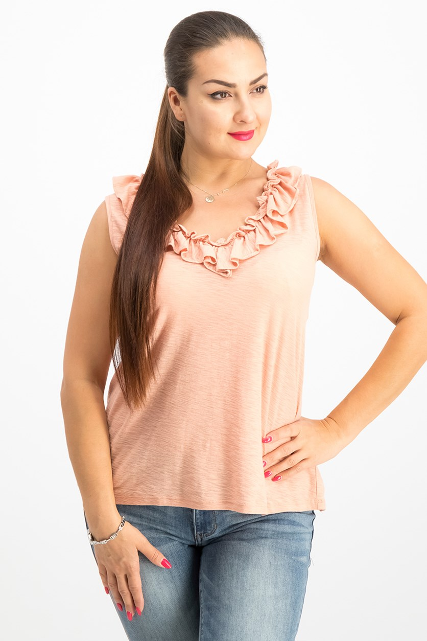 Women's  Ruffled Top, Cocoa Sand