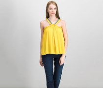 1.State Embroidered V-Neck Top, Rich Marigold