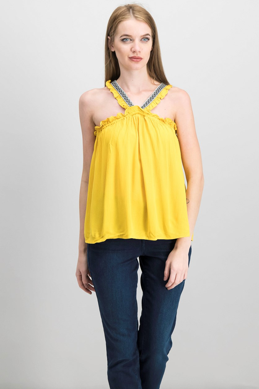 Embroidered V-Neck Top, Rich Marigold
