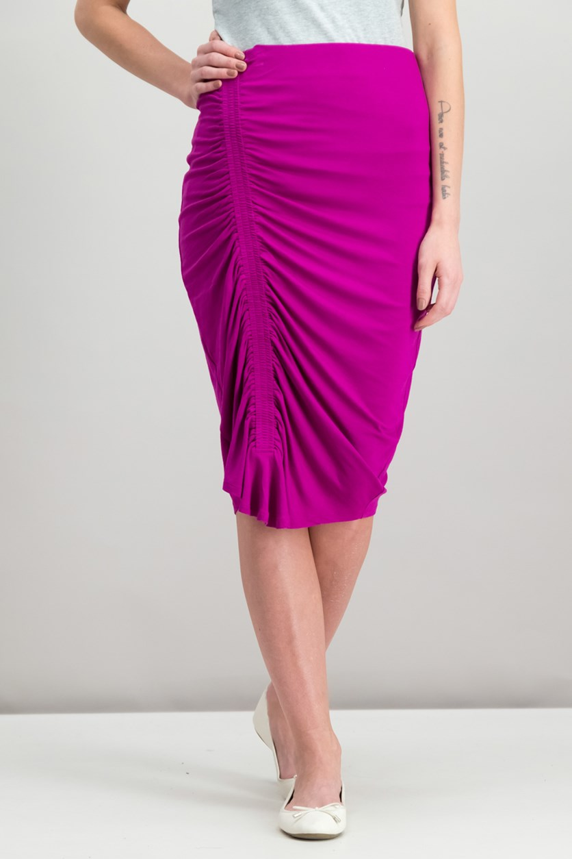 Ruched Pencil Skirt, Fuchsia Fury