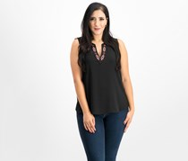 Vince Camuto Embroidered V-Neck Top, Rich Black