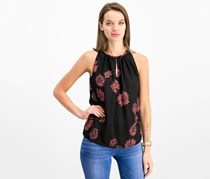 Vince Camuto Printed Keyhole Top, Rich Black