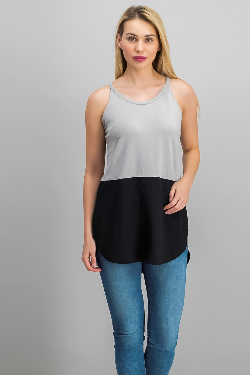 Women's Colorblock Top, Ashes/Black