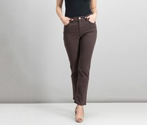 Lee Platinum Petite Gwen Colored Wash Straight-Leg Jeans, Brown