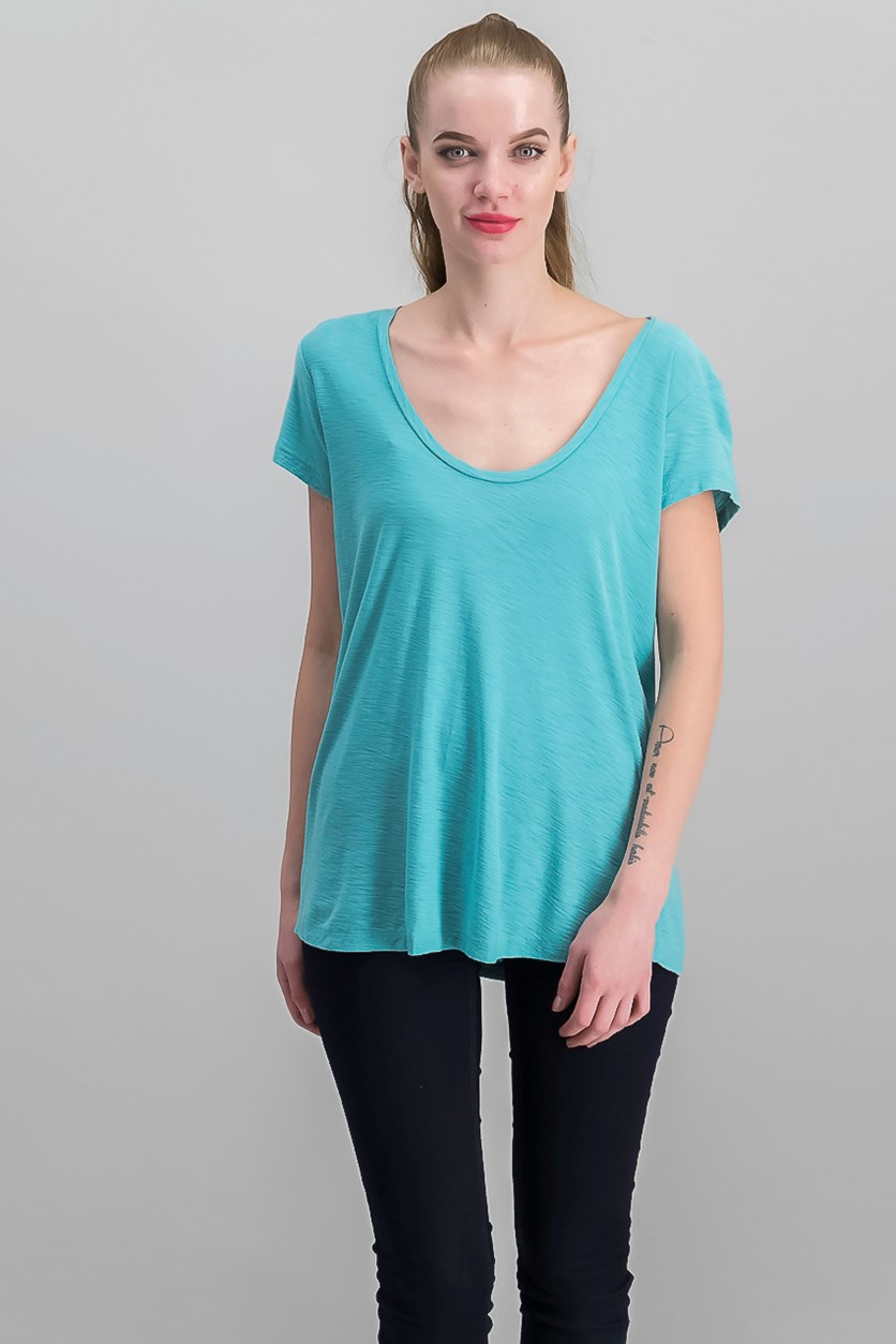 Women Deep V-Neck Tee, Aqua