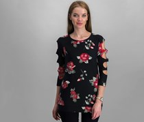 Crave Fame by Almost Famous Floral Tops, Black