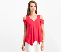 Women Juniors Strappy Cold-Shoulder Top, Red