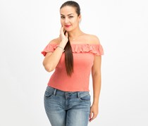 Almost Famous Juniors' Ruffle Smocked Crop Top, Clay