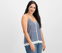 Juniors Gingham Crochet Tank, Blue/White Gingham