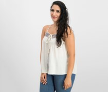 Crave Fame By Almost Famous Juniors' Embroidered Tie-Front Tank Top, Ivory