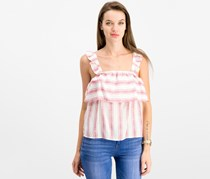Almost Famous Juniors' Striped Ruffle-Trimmed Top, Red/White