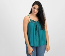 Crave Fame By Almost Famous Juniors' Embroidered Tie-Front Tank Top, Pacific