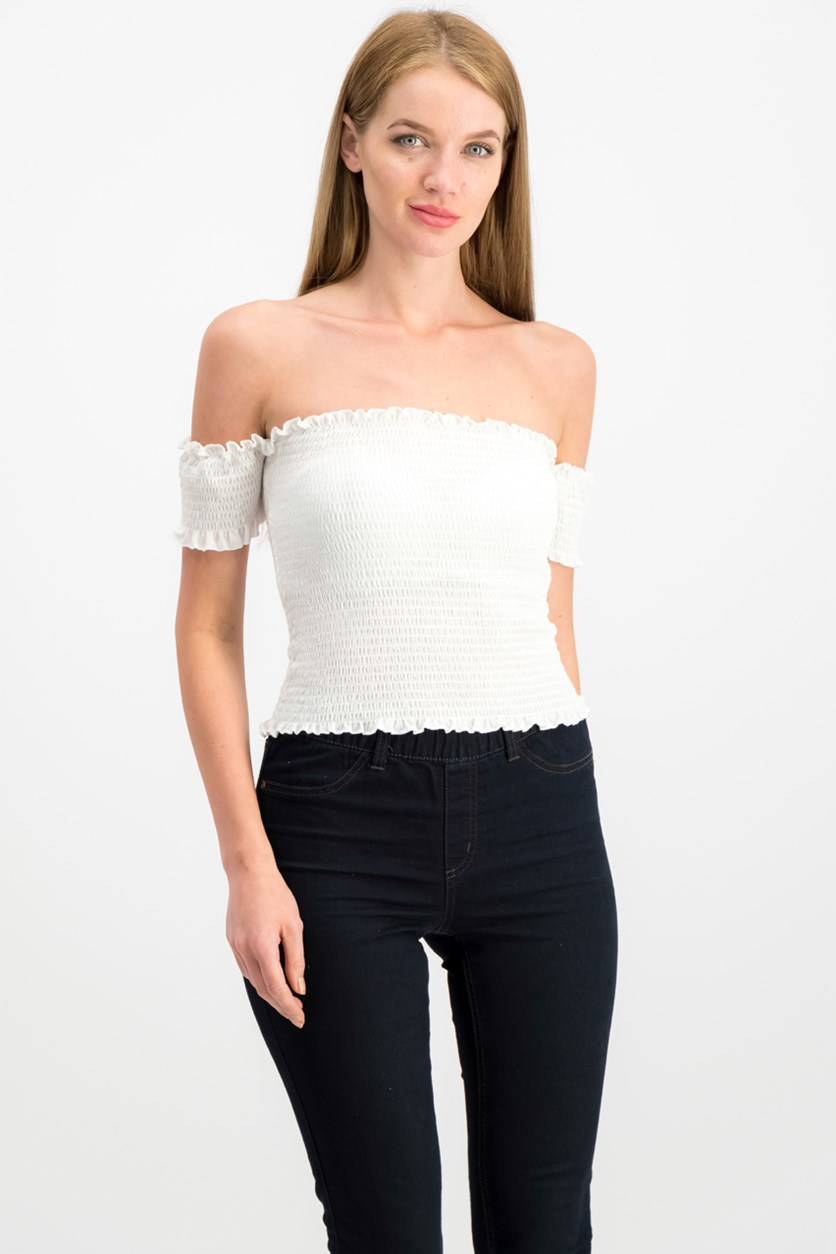 Juniors' Smocked Off-The-Shoulder Crop Top, White