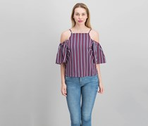 by Almost Famous Juniors Striped Cold-Shoulder Top, Navy/Red