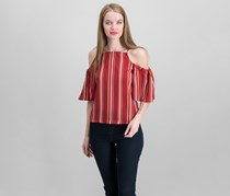Crave Frame Juniors Striped Cold-Shoulder, Wine/Cream