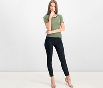 Crave Fame By Almost Famous Juniors' Colorblocked Lettuce-Edge T-Shirt, Olive
