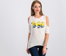 Hybrid Juniors' Minions Graphic Cold-Shoulder T-Shirt, Pink