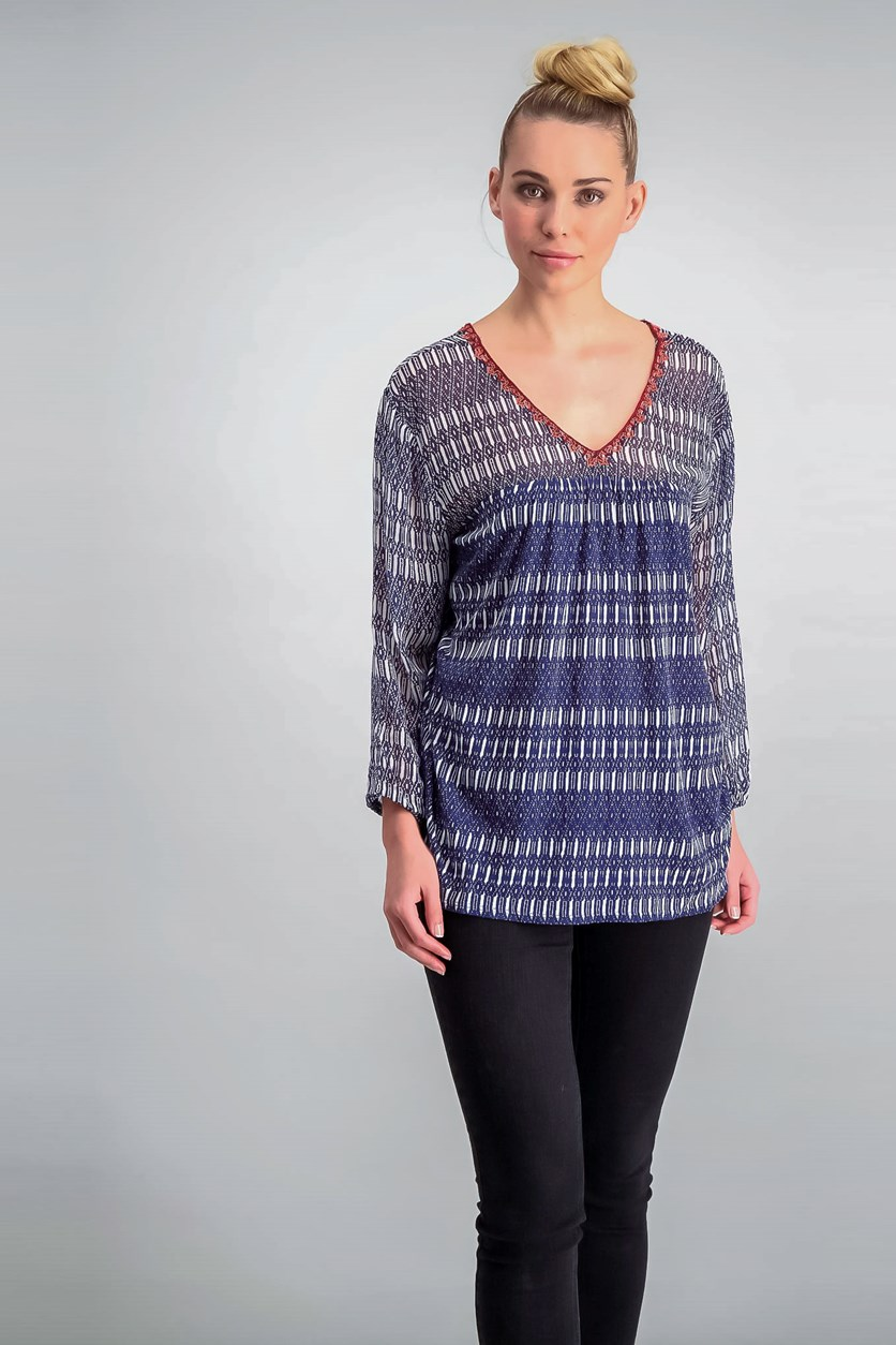 Print Woven Mix Top, Blue Combo