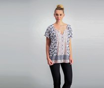 Lucky Brand Printed High-Low T-Shirt, Ivory Combo