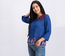 Lucky Brand Women's Embroidered Border Peasant Top, Navy Blue