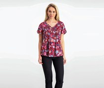 Lucky Brand Pleated Floral-Print Top, Red