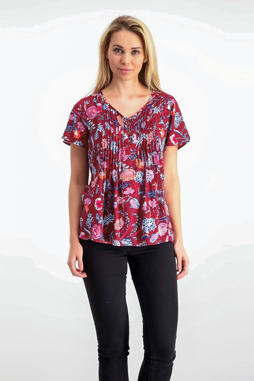 Pleated Floral-Print Top, Red