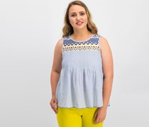 Lucky Brand Cotton Embroidered Tank Top, Blue