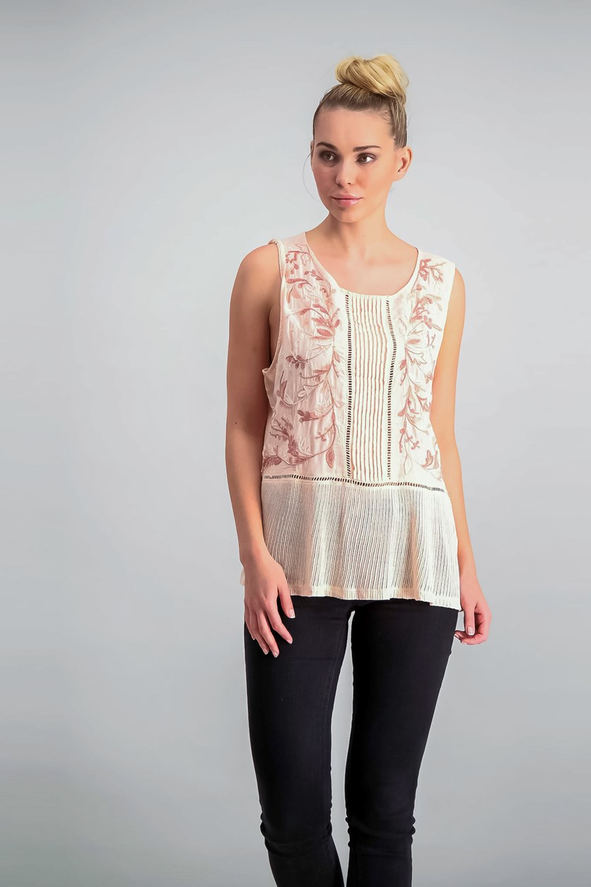 Embroidered Ladder-Trim Top, Pale Peach