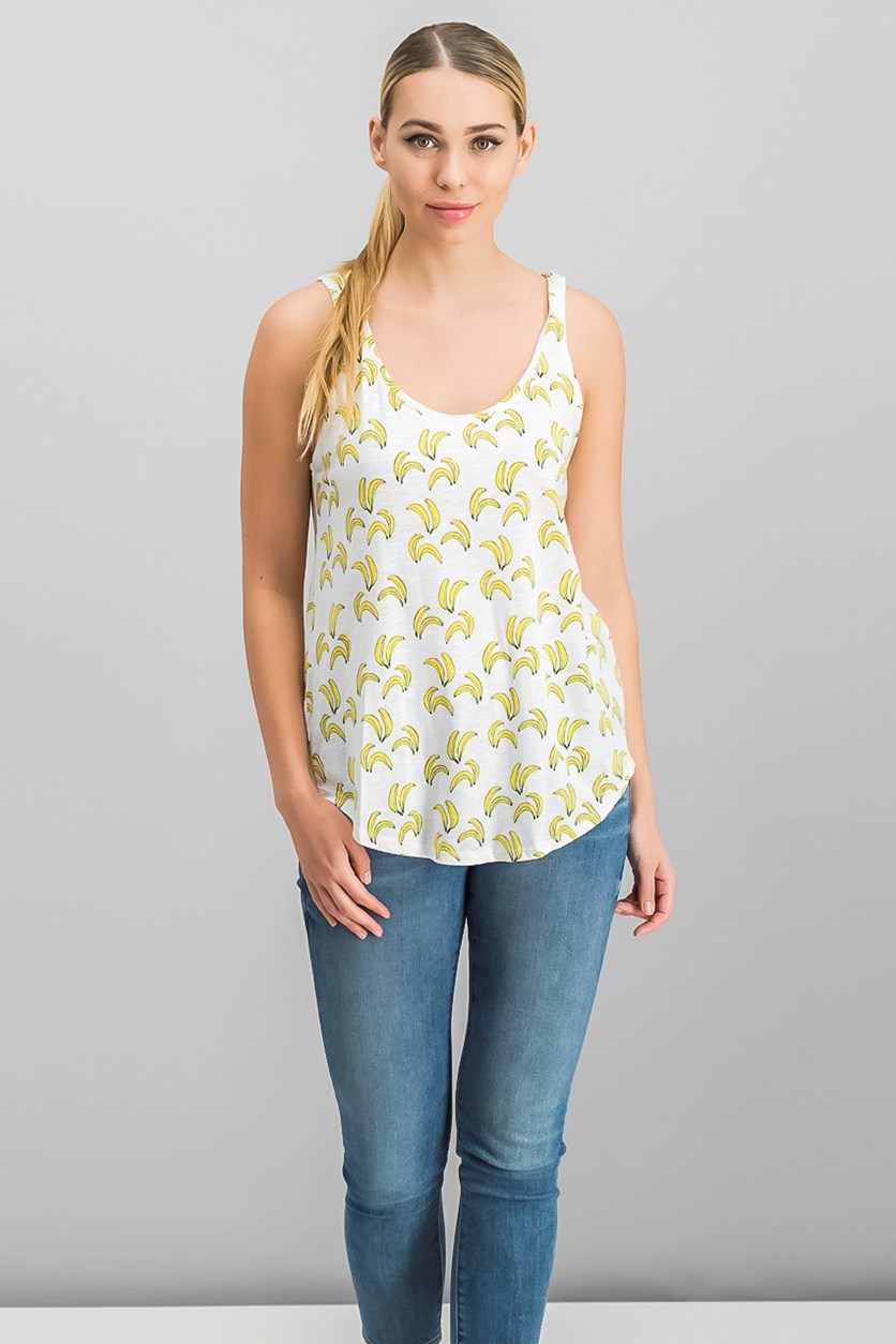 Women's Banana-Print Tank Top, White