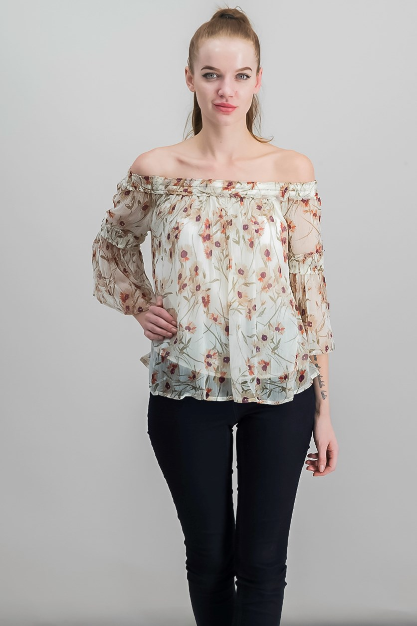 Printed Off-The-Shoulder Top, Natural