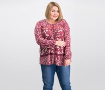 Lucky Brand Trendy Plus Size Lace-Trim Peasant Top, Red
