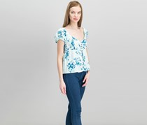 Free People Women's Close To You Floral Blouse, Blue Combo