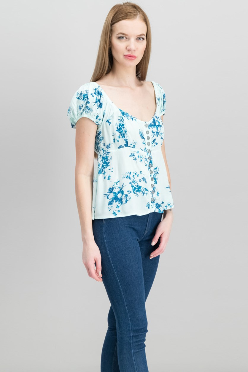 Women's Close To You Floral Blouse, Blue Combo