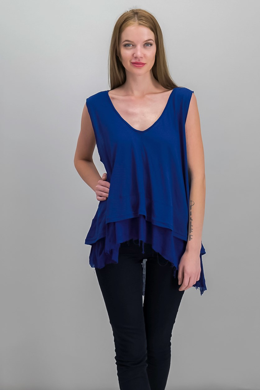 Peachy Cotton Layered-Look Top, Navy