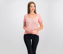 Free People Saturday Lace-Trimmed Tee, Coral