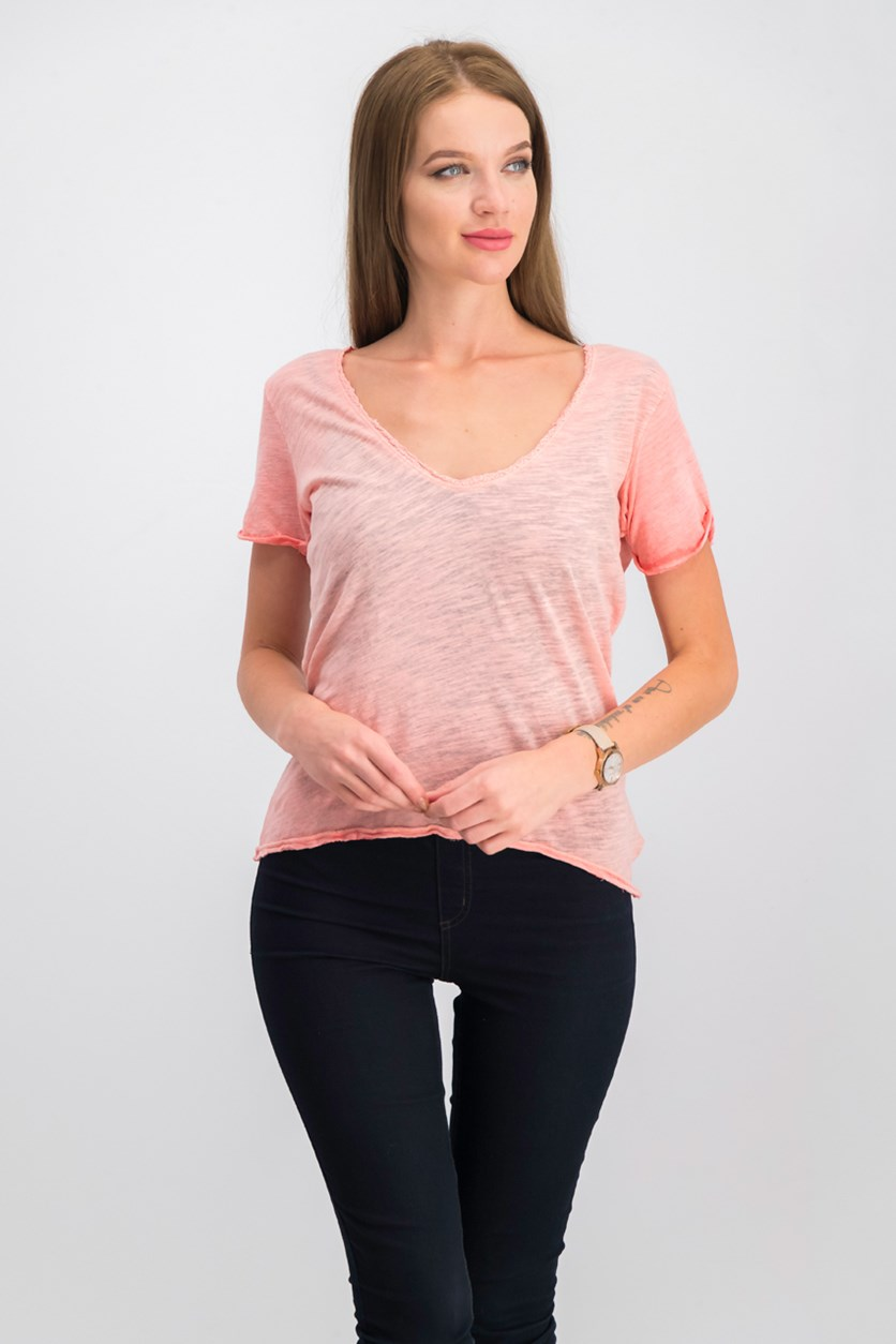 Saturday Lace-Trimmed Tee, Coral